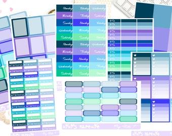 Mermaid Vertical Sticker Kit Plains Collection|Erin Condren|Lifeplanner|Happy Planner