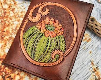 Hand tooled leather Barrel Cactus Passport/Notebook Cover