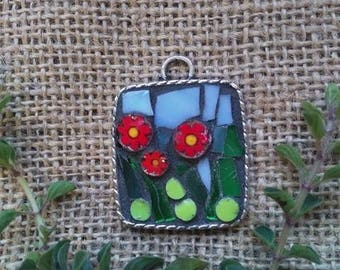 Mosaic Recycled square flower pendant