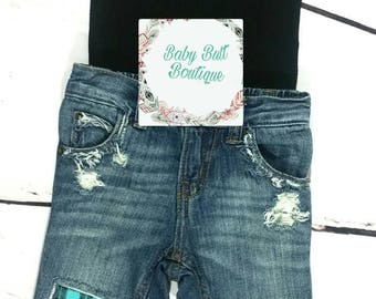 Wild one/Toddler Boy/Infant Boy/Boy/Blue Plaid/Distressed jeans/Ripped jeans/Patched Denim/Photo Prop/Birthday outfit/Baby gift/Boho style/