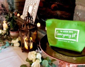 Green Bridal Emergency Kit - Wedding Day Survival Kit - Bridesmaids Gift to Bride - Makeup Bag - Bridal Kit - FREE SHIPPING