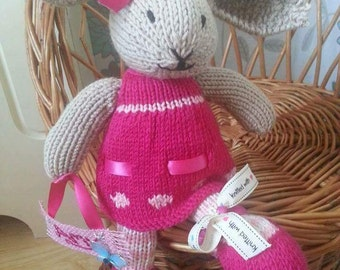 "Knitted Bunny Rabbit. Delightful hand knitted grey bunny called ""Mable"" is looking for someone to love and treasure her! Hand made to order."