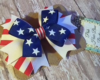 4th of July bow - 4 inch hair bow - Stars and Stripes - patriotic hair bow
