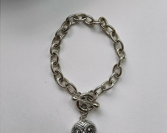 """8"""" Silver Toggle Bracelet with Owl Charm"""