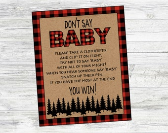 Don't Say Baby Game for Lumberjack Baby Shower. Baby Shower Game for Christmas, Winter, Mountain Baby Shower. Instant Digital Download