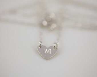 bridesmaid necklace, bridesmaid gift, heart necklace, dainty necklace - sterling silver