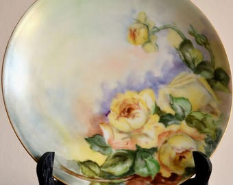 Thomas Sevres Bavaria Plate, Hand Painted Yellow Rose Plate, Artist Signed Bavarian China, Antique Plates, Bavarian Plate, Bavaria Germany