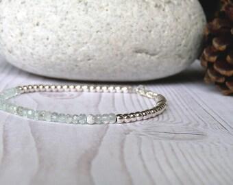 Aquamarine bracelet. Delicate aquamarine bracelet and sterling silver beads. Thin aquamarine bracelet. Wedding jewelry
