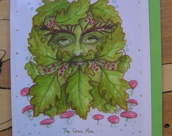 Green Man handmade Card