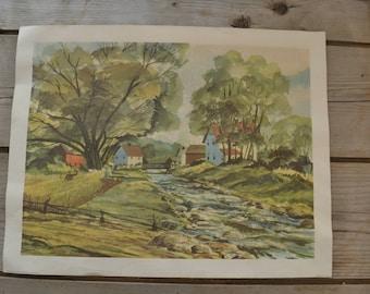 Vintage Reprint Donald Art Co. Landscape Town Farm Print Art