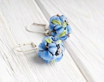 Blue flowers lampwork earrings, flower earrings, cobalt blue earrings, blossom earrings, floral earrings, nature earrings, botanical earring