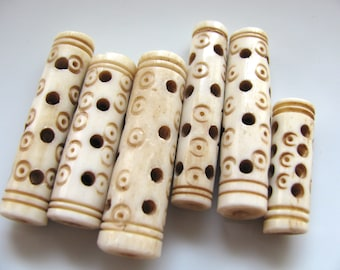 Bone tubes, carved bone, 6 beads, 25 to 38mm long, 8 to 10mm wide, Jewelry supply B-3014