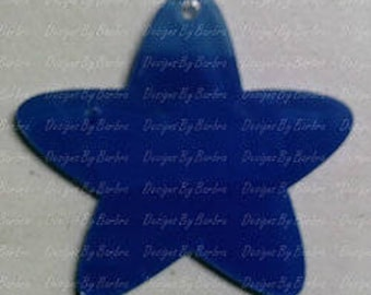 5 clear acrylic ROUNDED ENDS STAR key chain blanks