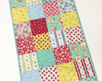 Table Runner Strawberry Fields Table Topper Handmade Quilted Patchwork Spring Summer