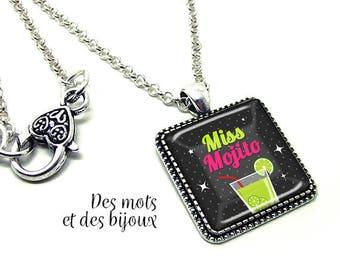 """""""Miss mojito"""" - gift pendant necklace square glass cabochon silver chain"""