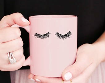 Pink Eyelashes Coffee Mug | Coffee Cup Mug Bridal Shower Gift Bridesmaid Gift Bride Gift Maid Of Honor Gift Sister Gift Best Friend Gift