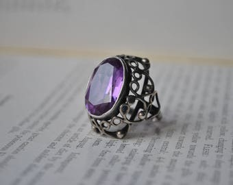 Vintage Sterling Ring - 1930s Synthetic Colour Change Corundum, Free Shipping