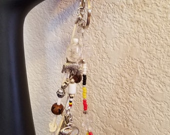 Snow Goose Medicine Wheel Totem - Key Ring/Fob for Purse, Drum or Car and a Descriptive Bookmark