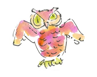 "HOOTY OWL...Clipart / Digital Download / 300 dpi/ hi resolution of Original Watercolor . 8""x10"" Great for any application."