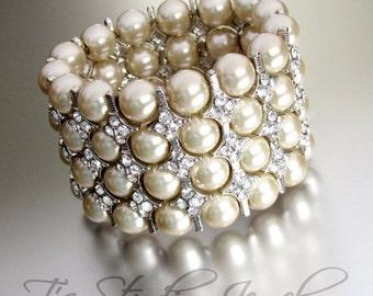 Pearl Bridal Cuff Bracelet, Multi Strand with Crystal Rhinestone Spacers