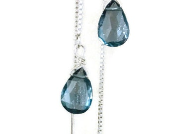 London Blue Earrings Blue Topaz Earrings London Blue Topaz earrings Quartz earrings Ear Threader earrings Silver December birthstone