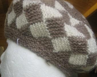 Entrelac style beret.