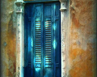 Venice Window Photography,Venezia Italy,Rustic Coral Terra cotta, Blue Teal wall Art, Wall Decor,Rustic Decor,Antique Window Print,Photo,Pic