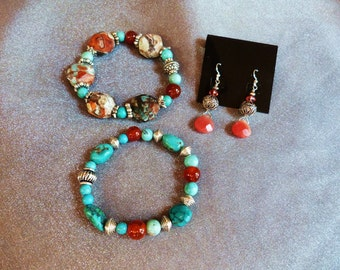 A gorgeous set of red agate bracelets with turquoise, jasper and silver beads and deep cherry quartz earrings