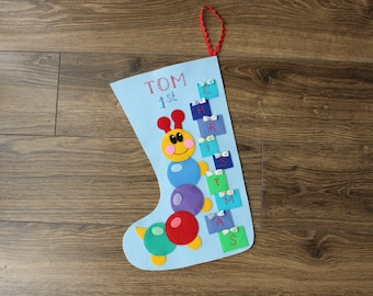 """Felt Christmas Stocking """"First Christmas"""" can be personalized"""