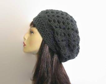Gray Slouchy Hat Charcoal Beanie Dark Gray Slouchy knit Beret Crochet women's hat dark gray Crochet Slouch Hat Charcoal Slouch Beanie