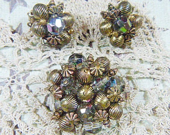 Vintage Gold Filigree and Aurora Borealis Beads Brooch and Clip Earrings - BR-490 - Gold Filigree and AB Demi Parure - Brooch and Earrings