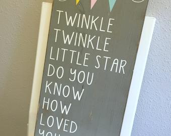 Nursery Decor Wooden Sign - Twinkle Twinkle Little Star - Rustic Distressed Wood Sign - Children's Decor Wall Art - Nursery Rhyme