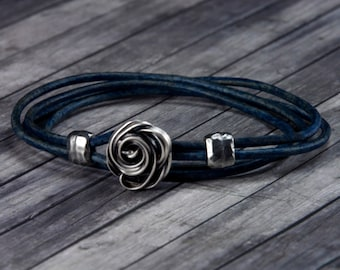 Rose Leather Bracelet Leather Wrap Jewelry Wrap Bracelet Wire Wrap Women Leather Bracelet Rose Jewelry Christmas Gift for her Something Blue