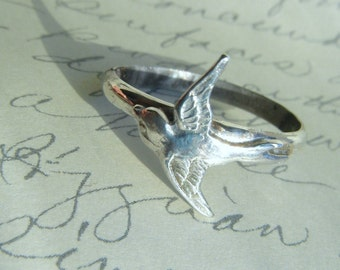 Sterling Silver Swallow Bird Ring-Romantic, Tattoo, Steampunk Free Shipping Worldwide