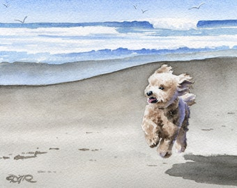 "Apricot Poodle Art Print ""APRICOT POODLE At The Beach"" Signed by Artist DJ Rogers"