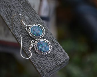 Opal Earrings,Opal Earrings, Dangle Opal Earrings, Opal, Blue Opal, Opal Triplet, Sterling Silver, Silver Opal Earrings