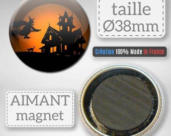 Magnet magnet Halloween witch haunted house party 38 mm Badge gift decor