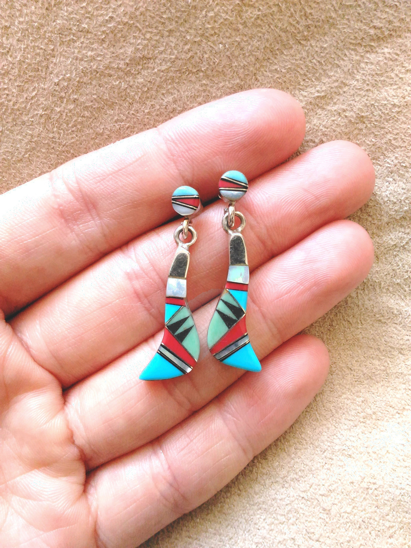 Vintage Zuni Native American Inlay Earrings Blue Sleeping