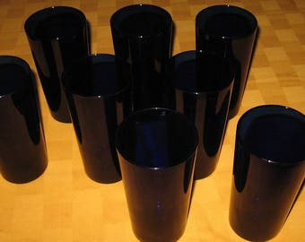 Set of 8 Cobalt Blue Glasses made by Libbey