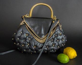 "Vintage 1980s Tufted Leather Purse, Retro 80s Decadent Leather Purse Made in Italy, Retro 80s Tufted  Leather Purse ""Faux Versace"" Style"
