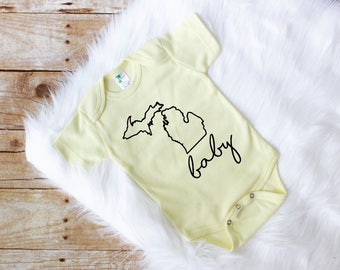 Baby Onesie//Michigan Baby//Baby Boy//Baby Girl//Baby Shower Gift//Gift Ideas//Michigan//Baby Bodysuit//Baby//Pink//Mint//Yellow