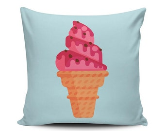Strawberry Cup - Throw Pillow - Home Decoration, Couch, Sundae, Dessert, Food, Vector Art
