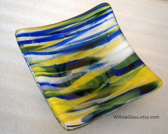 Fused Glass Dish in Streaky Blue, Yellow and White, Glass Tray OOAK, Glass Soap Dish, Home Decor, Glassware, Willow Glass