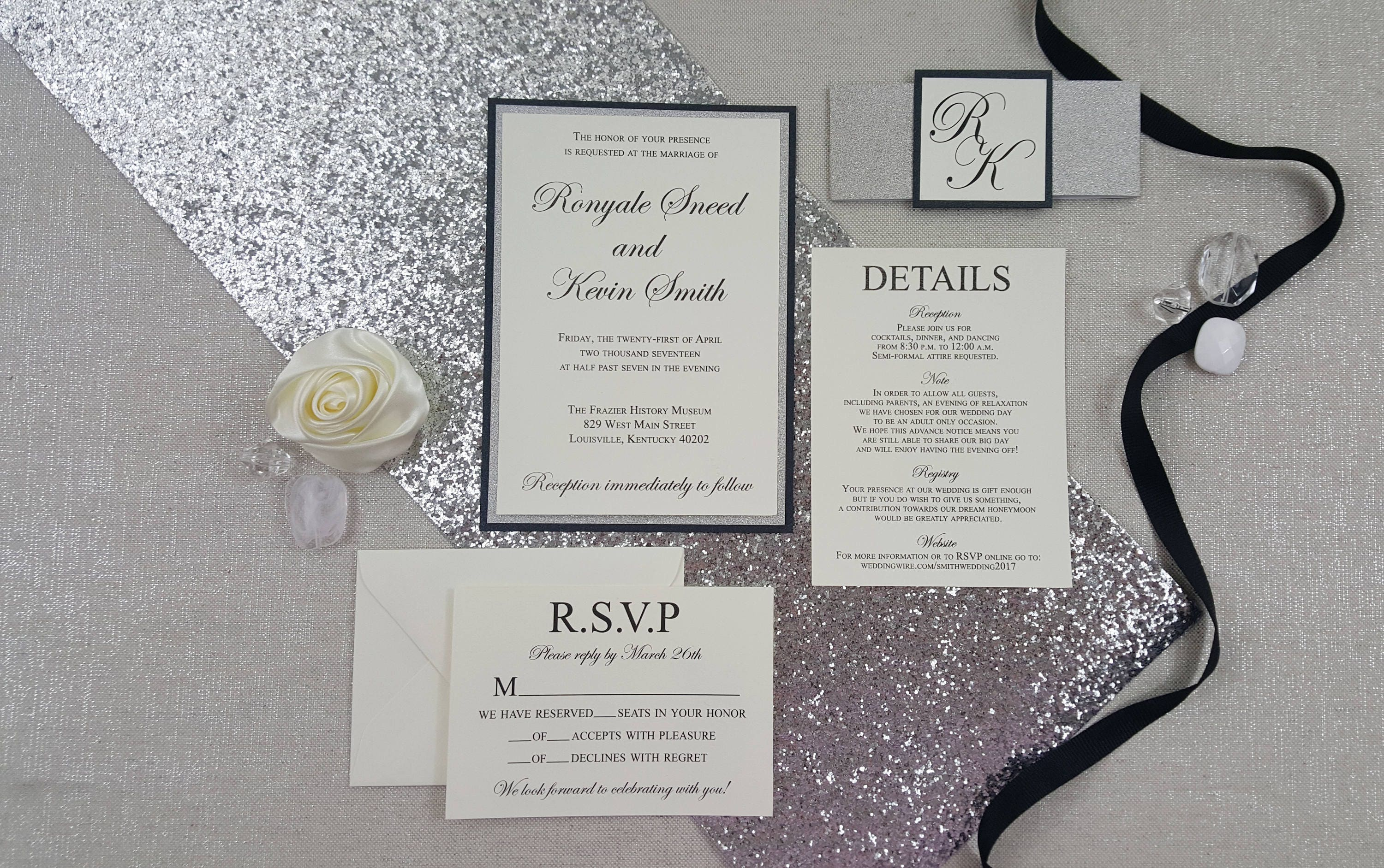 Silver Glitter Black & Ivory Wedding Invitations - Elegant - Layered ...