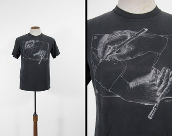 Vintage MC Escher Drawing Hands T-shirt Black Faded Cotton 1990s Made in USA - Large