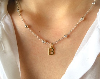 Necklace with chain with aluminum beads and initial pendant in 925 silver gold bathroom