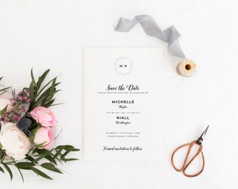 Wreath Save The Date Card, Monogram Save The Date Card, Modern Save The Date, Save-the-Date, Save The Date Magnet, Mansion House Collection