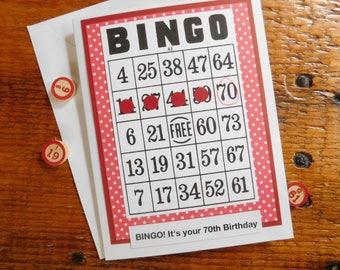 Bingo Birthday Greeting Card - 70th Birthday Card - 50th Bingo Birthday - 75th Birthday - 60th Birthday Card - Bingo Birthday Card - 65th BD