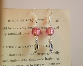 Pink Leaf Drop Earrings
