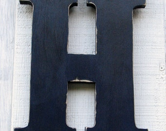 """Rustic Home Decor Baby Nursery Kids Room Decoration Wooden Letters Fall Decor Wall Hanging Letter """"H"""" Distressed in Navy Blue 12"""" Tall"""